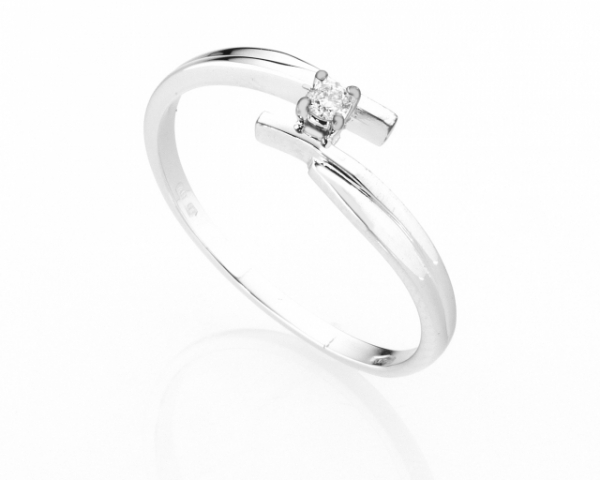Anello Solitario Diamonds Luxury con Diamante da 0.05ct in oro bianco 18kt