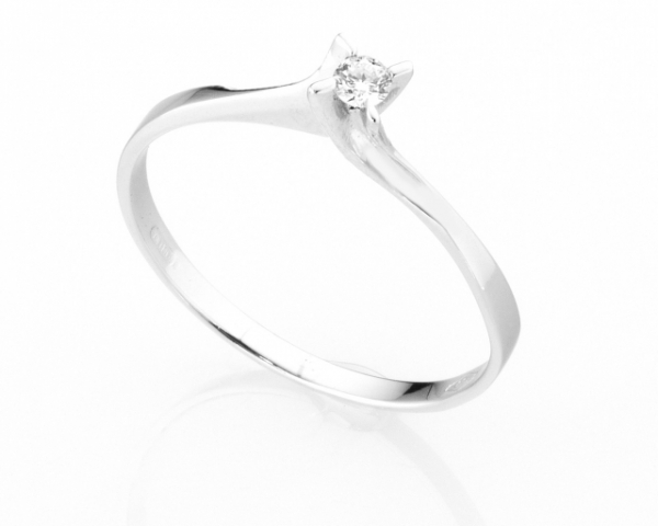 Anello Solitario Diamonds Luxury con Diamante da 0.06ct in oro bianco 18kt