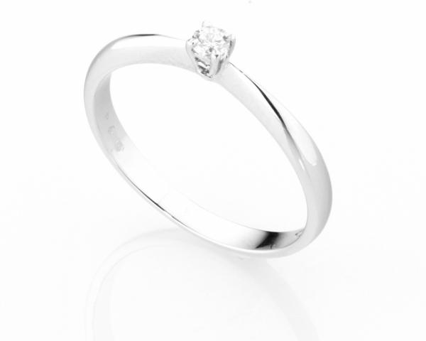 Anello Solitario Diamonds Luxury con Diamante da 0.07ct in oro bianco 18kt