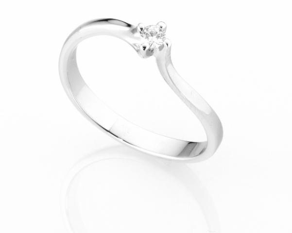 Anello Solitario Diamonds Luxury con Diamante da 0.08ct in oro bianco 18kt