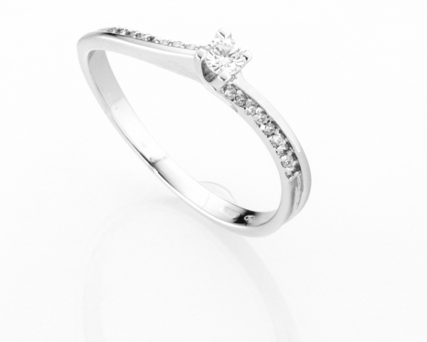 Anello Solitario Diamonds Luxury con Diamante da 0.10ct in oro bianco 18kt