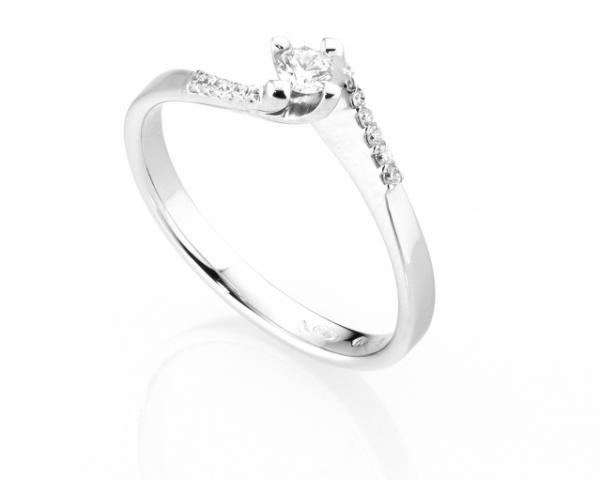 Anello Solitario Diamonds Luxury con Diamante da 0.10ct in oro bianco 18kt