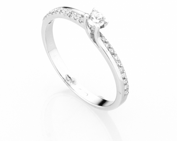 Anello Solitario Diamonds Luxury con Diamante da 0.11ct in oro bianco 18kt