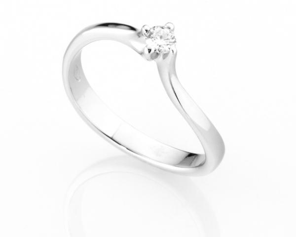 Anello Solitario Diamonds Luxury con Diamante da 0.13ct in oro bianco 18kt