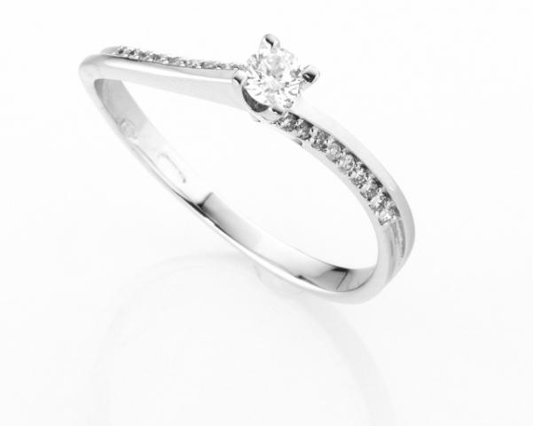 Anello Solitario Diamonds Luxury con Diamante da 0.14ct in oro bianco 18kt