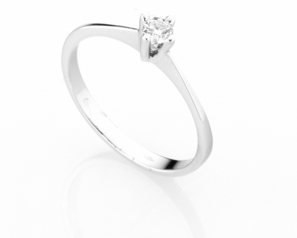 Anello Solitario Diamonds Luxury con Diamante da 0.14ct in oro bianco 18kt