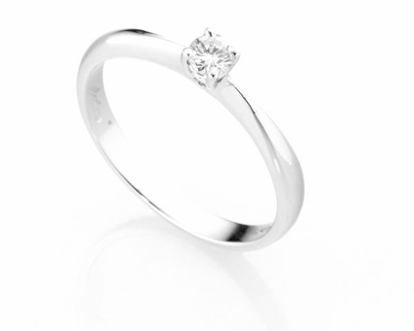 Anello Solitario Diamonds Luxury con Diamante da 0.15ct in oro bianco 18kt