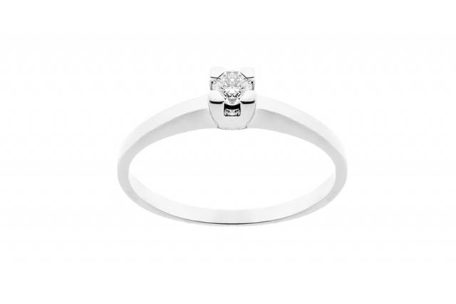 Anello Solitario Grama & Mounier con Diamante da 0.13ct in oro bianco 18kt GM018