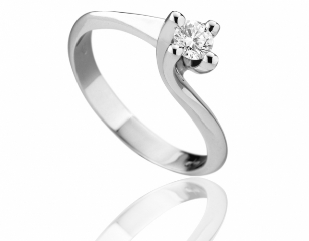 Anello solitario Roger Gems con Diamante IF 0.40ct G IF in oro bianco 18kt mod. Valentino