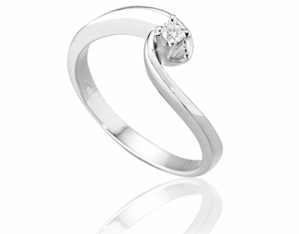 Anello Solitario Roger Gems con Diamante Naturale IF 0.06ct in oro bianco 18kt