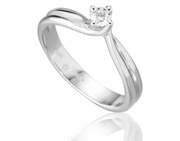 Anello Solitario Roger Gems con Diamante Naturale IF 0.13ct in oro bianco 18kt