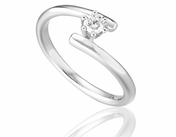 Anello Solitario Roger Gems con Diamante Naturale IF 0.20ct in oro bianco 18kt
