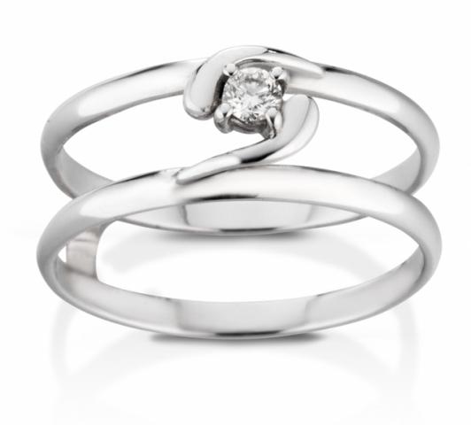 Anello Solitario VERA modello liscio in oro bianco 18kt e Diamante 0.05ct