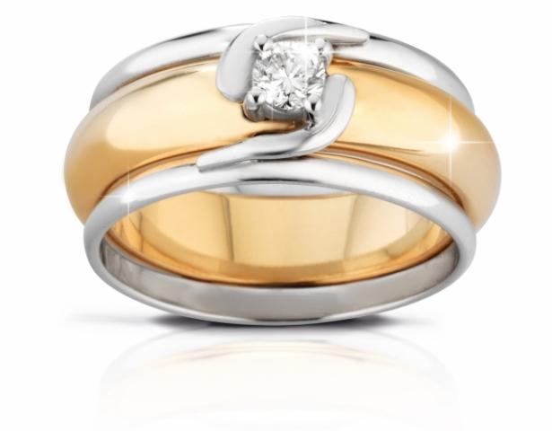 Anello Solitario VERA modello liscio in oro bianco 18kt e Diamante 0.10ct