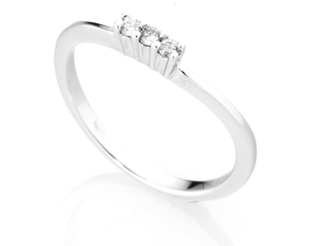 Anello Trilogy Diamonds Luxury con 3 Diamanti 0.08ct in oro bianco 18kt