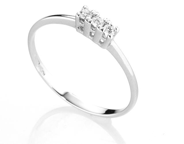 Anello Trilogy Diamonds Luxury con 3 Diamanti 0.09ct in oro bianco 18kt