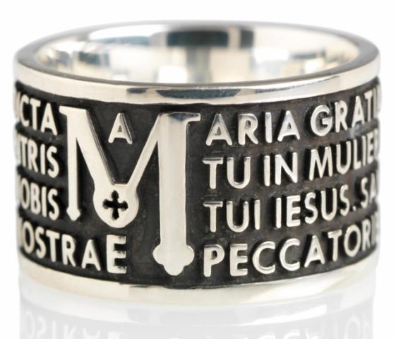 Anello Tuum Tuam in Argento 925 Brunito con Ave Maria in latino