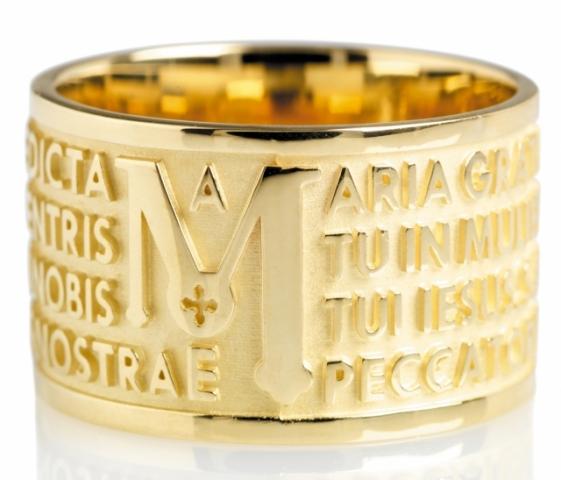 Anello Tuum Tuam in Oro giallo 9kt con Ave Maria in latino
