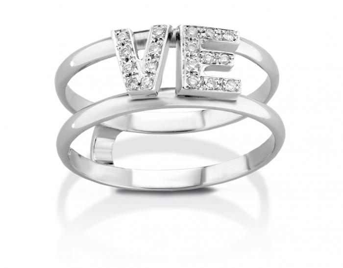 Anello VERA in oro bianco 18kt e doppia iniziale a scelta con diamanti naturali