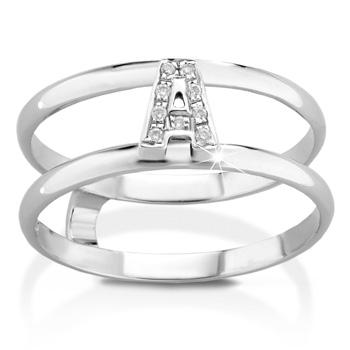 Anello VERA in oro bianco 18kt e iniziale A con diamanti naturali