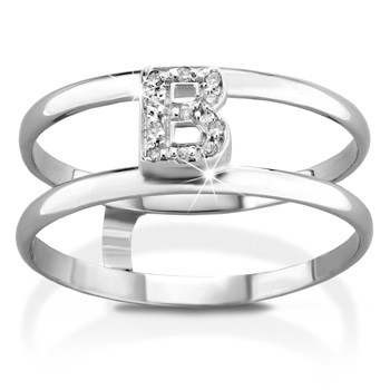 VERA - 18k White Gold and B letter with Natural Diamonds Ring