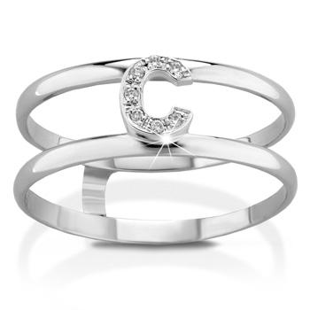 Anello VERA in oro bianco 18kt e iniziale C con diamanti naturali