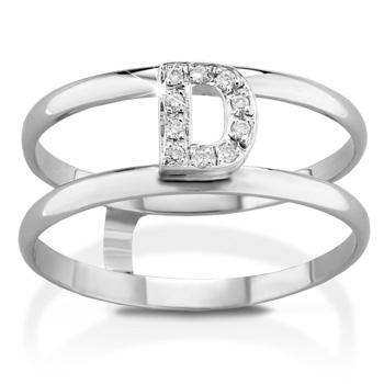Anello VERA in oro bianco 18kt e iniziale D con diamanti naturali
