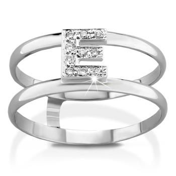 Anello VERA in oro bianco 18kt e iniziale E con diamanti naturali