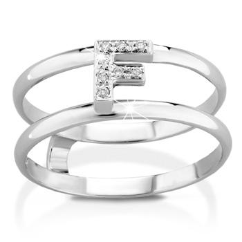 Anello VERA in oro bianco 18kt e iniziale F con diamanti naturali