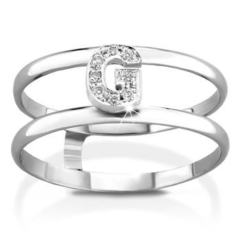 Anello VERA in oro bianco 18kt e iniziale G con diamanti naturali
