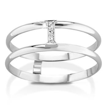 Anello VERA in oro bianco 18kt e iniziale I con diamanti naturali