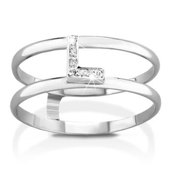 Anello VERA in oro bianco 18kt e iniziale L con diamanti naturali