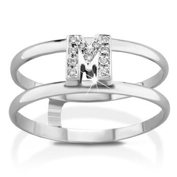 Anello VERA in oro bianco 18kt e iniziale M con diamanti naturali