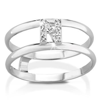 Anello VERA in oro bianco 18kt e iniziale N con diamanti naturali