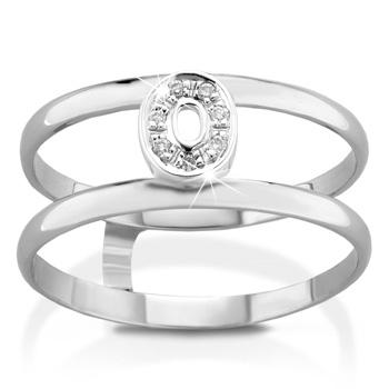 Anello VERA in oro bianco 18kt e iniziale O con diamanti naturali