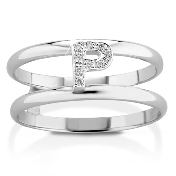 Anello VERA in oro bianco 18kt e iniziale P con diamanti naturali