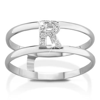Anello VERA in oro bianco 18kt e iniziale R con diamanti naturali
