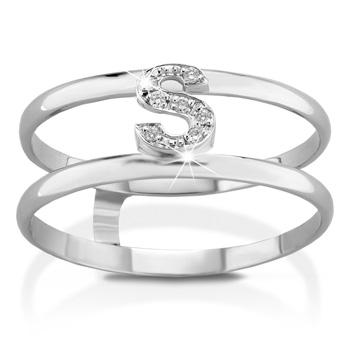 Anello VERA in oro bianco 18kt e iniziale S con diamanti naturali