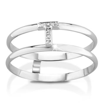 Anello VERA in oro bianco 18kt e iniziale T con diamanti naturali