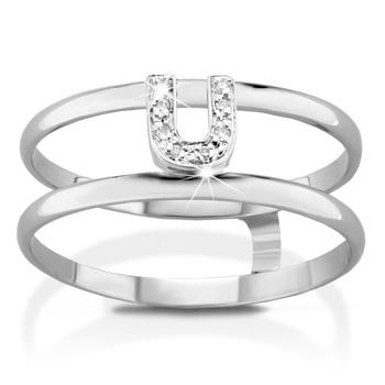 Anello VERA in oro bianco 18kt e iniziale U con diamanti naturali