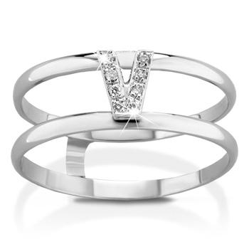 Anello VERA in oro bianco 18kt e iniziale V con diamanti naturali