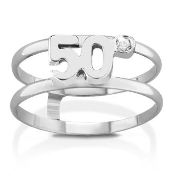 Anello VERA in oro bianco 18kt e numero 50 con diamante naturale