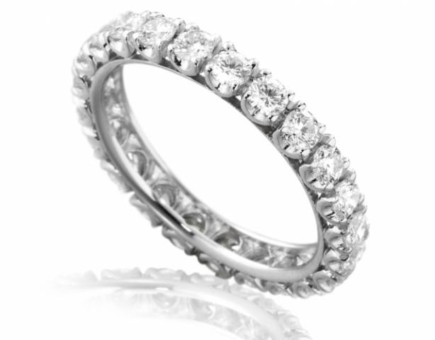 codice promozionale eaeb2 3d2f0 Anello Veretta Eternity Roger Gems con giro di Diamanti Naturali IF 0.65ct  in oro bianco 18kt