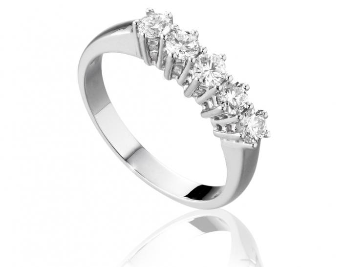 nuovo di zecca e43d5 f1352 Anello Veretta Roger Gems con 5 Diamanti Naturali IF 0.60ct in oro bianco  18kt