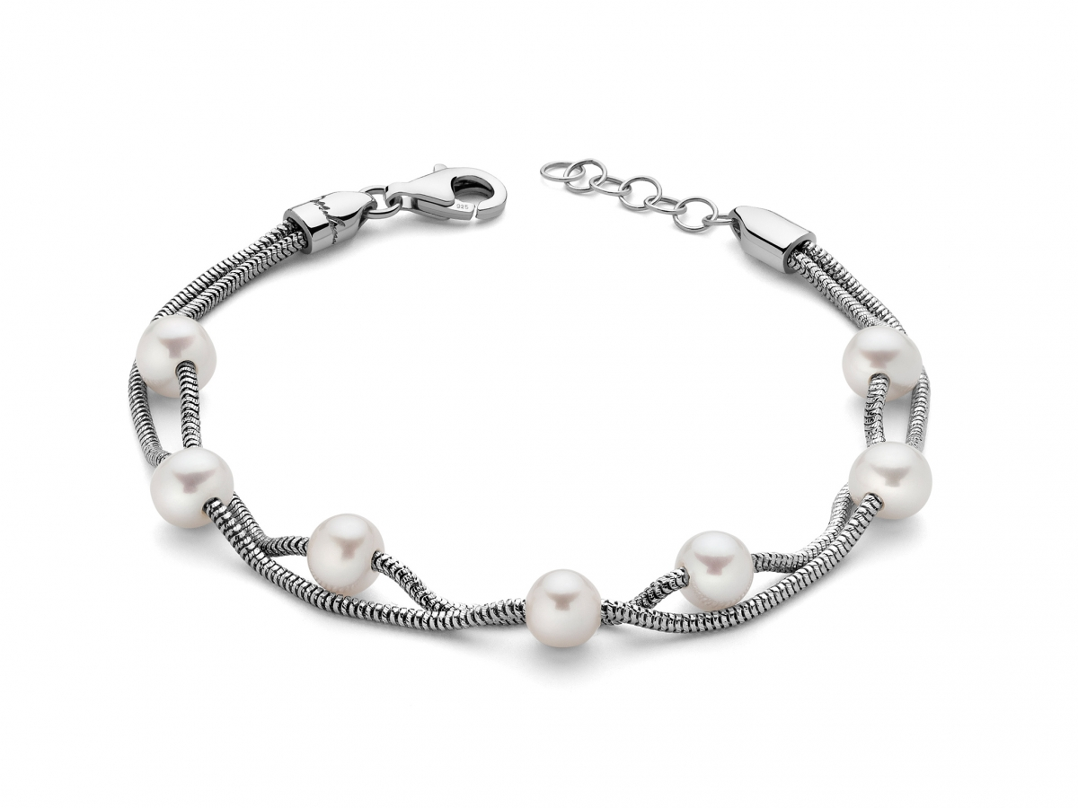 Bracciale 2 fili con Perle in argento 925% MISS ITALIA PBR2832