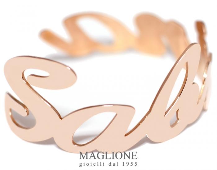 Bracciale a fascia con nome personalizzabile in acciaio anallergico bianco giallo o rosa