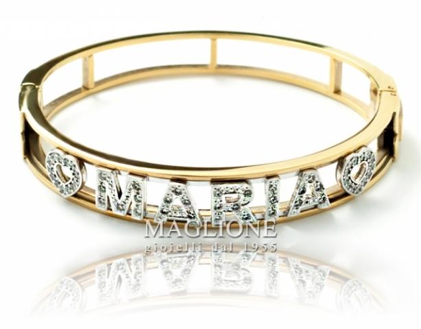 Bracciale a Manetta rigida personalizzabile con nome in acciaio bianco o giallo e Swarovski