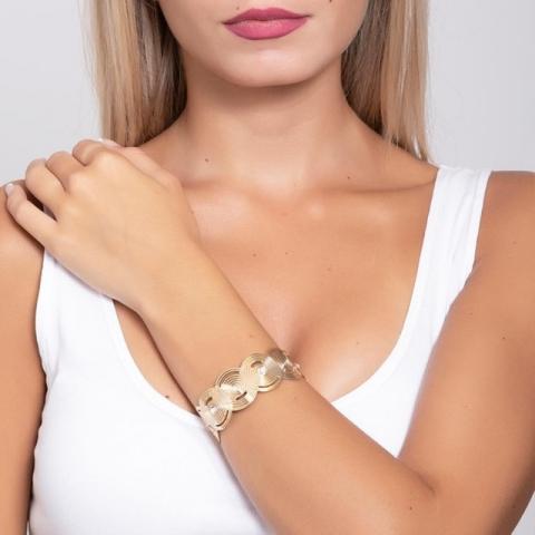 Bracciale BOCCADAMO Maya rigido a fascia placcato oro giallo con decori di ispirazione Maya e Swarovski XBR692D