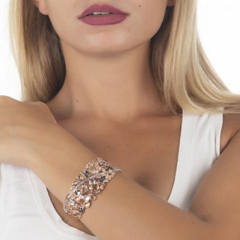Bracciale BOCCADAMO Harem rigido con decoro di Swarovski crystal, peach e silver night XBR728RS