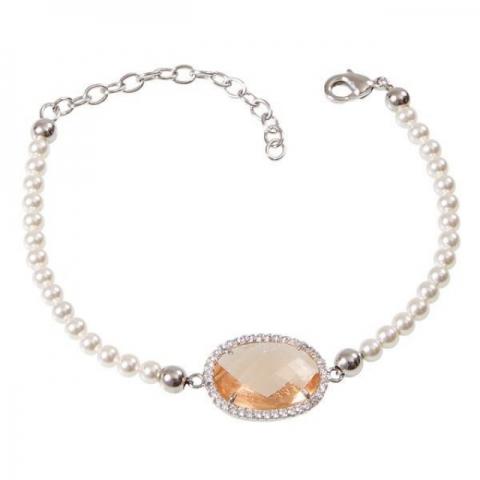Bracciale BOCCADAMO Sharada di perle Swarovski con cristallo champagne e zirconi XBR230